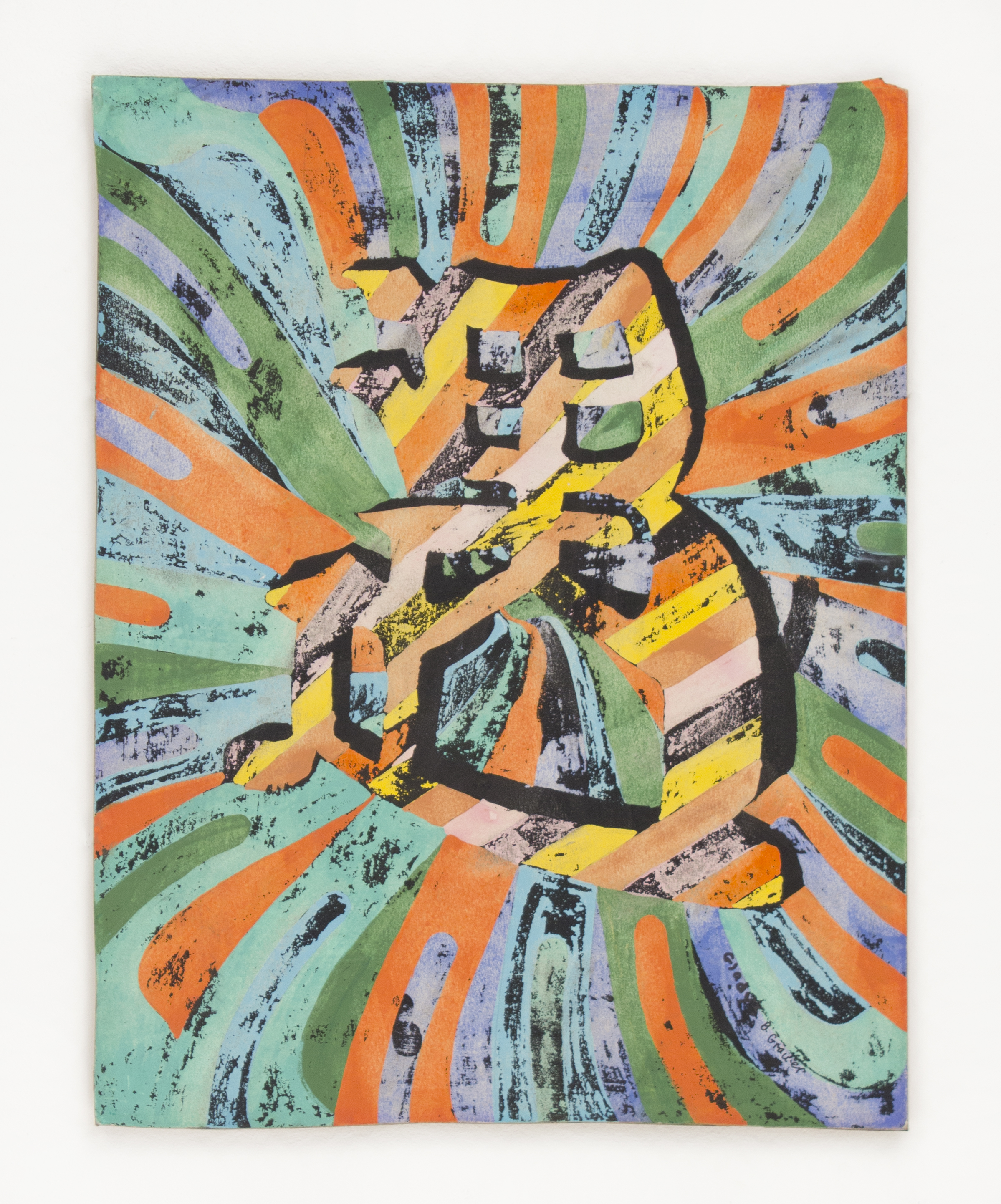 """""""Chinese Symbol"""" 1980, Gouache Resist, 22x18IN"""