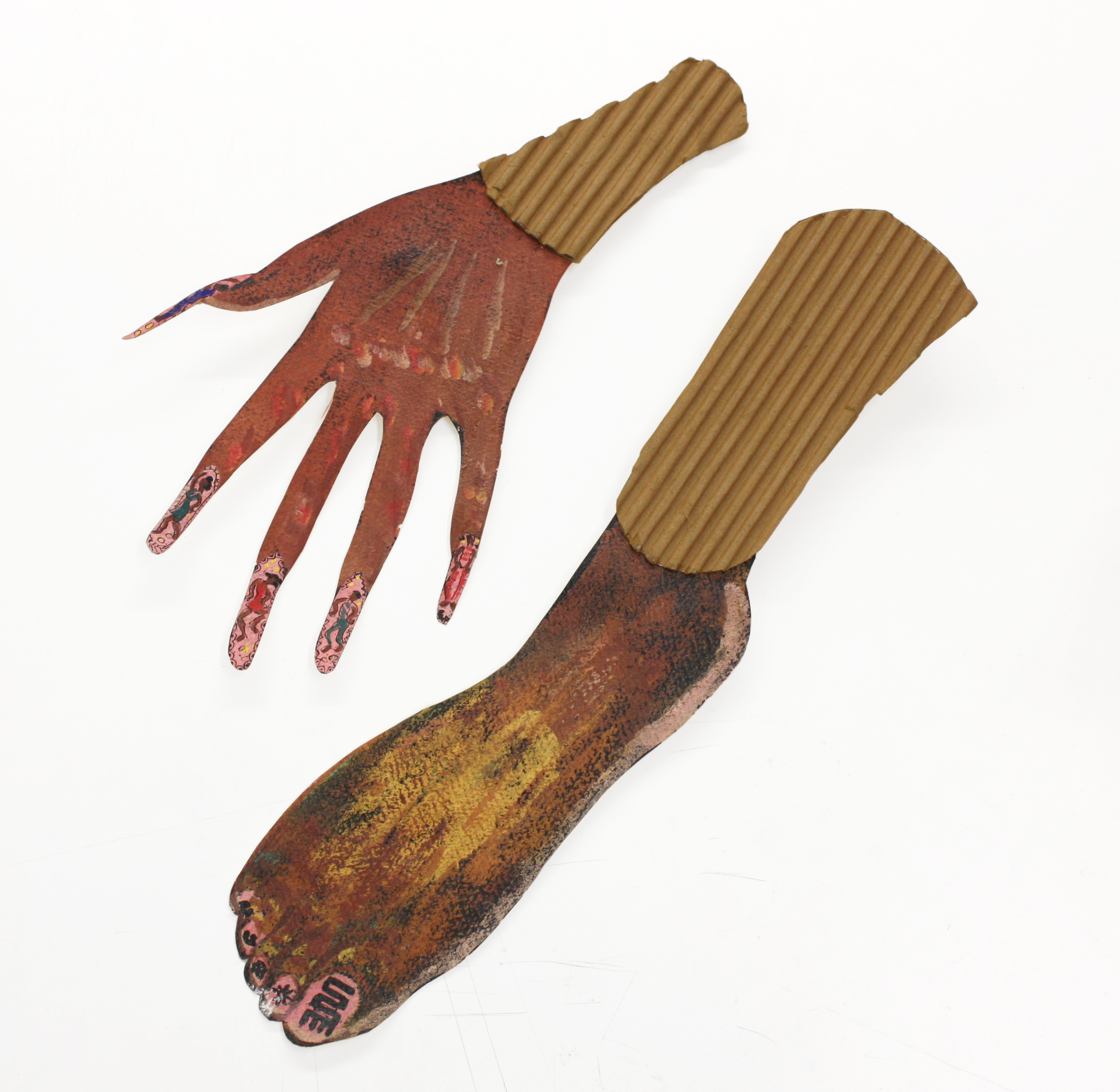 """""""Untitled"""" Hand and Foot 2003, Acrylic and Corrugated Cardboard, Variable-Size"""