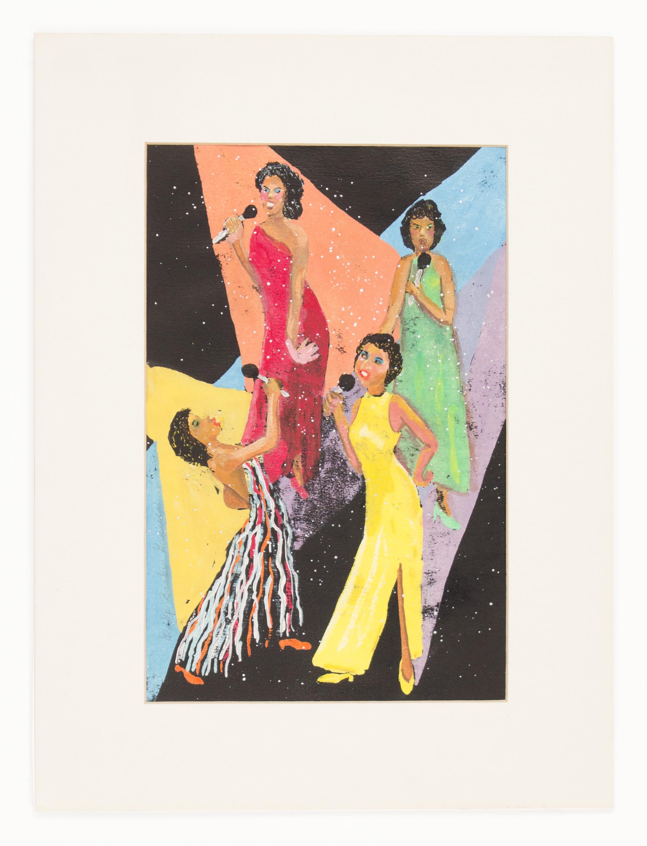 """The Divas"" 2006, Gouache, 16x12IN"