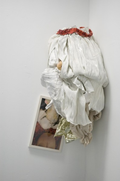 """Jill Spector Untitled, """"Eat Space"""" Light-jet print, fabric, wire, mylar, plaster, wood and paper 46 x 23 x 20 inches"""