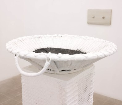 Fay Ray Hestia, 2014 Plaster, wood, acrylic, chair caning, palm ash 54 x 24 inches (137 x 60.9 cm)