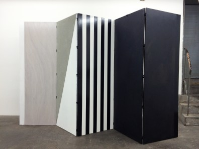Nora Shields_ Divider 1, forever and...,_ 2015 Wood, cement, acrylic paint, lacquer Aluminum, and spray paint 88 x 150 x 3/4 inches 223.5 x 381 x 1.9 cm