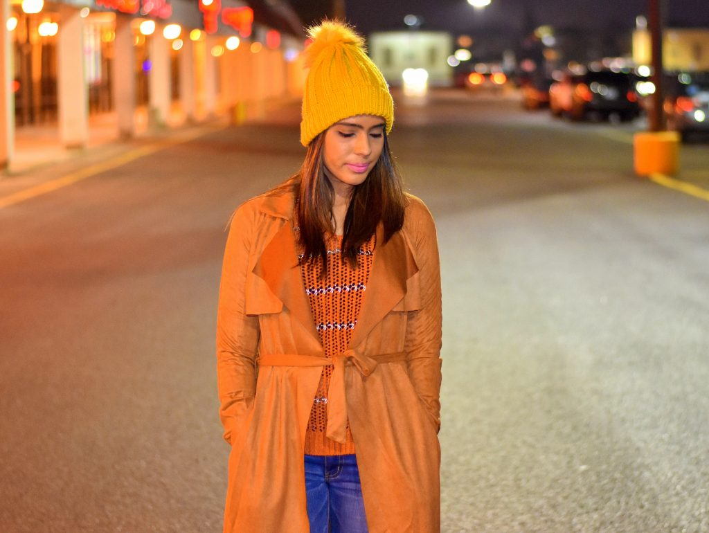 Suede coat from Romwe with a beanie