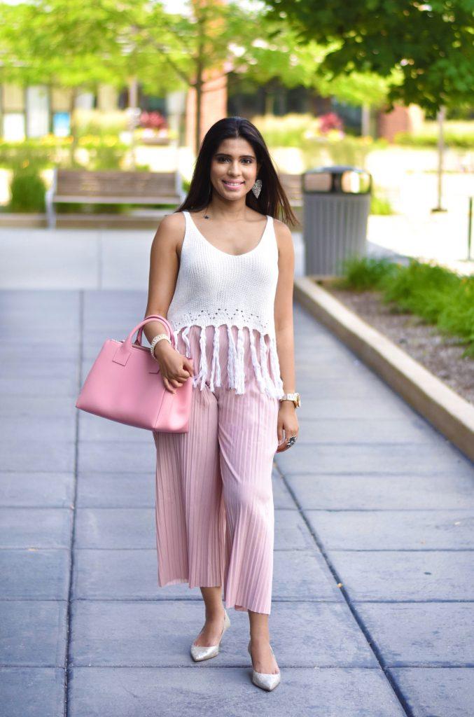 Pink pants and handbag