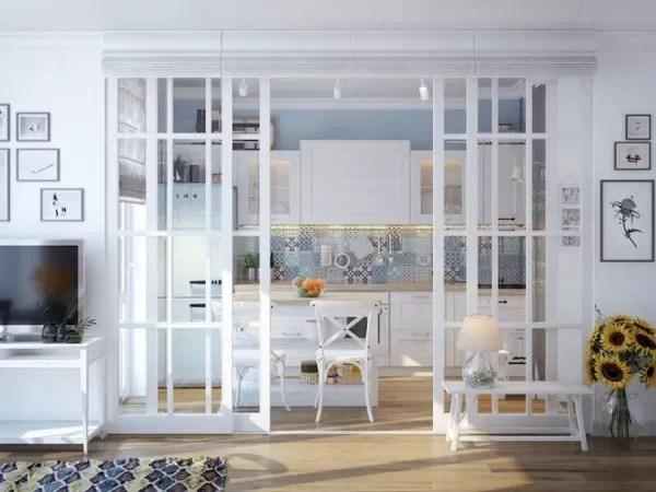 Il cambio di pavimento dal parquet della zona giorno, al marmo carrara in cucina. Piccoli Spazi Grandi Soluzioni Dividere Cucina E Soggiorno