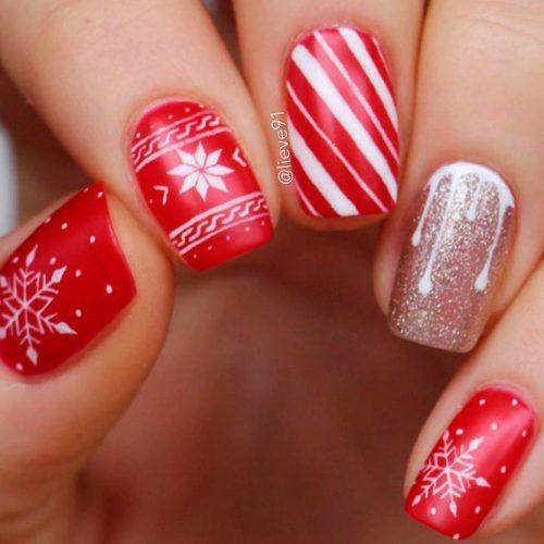 Festive Red Nails Wirh Candy Theme #rednails #winternails