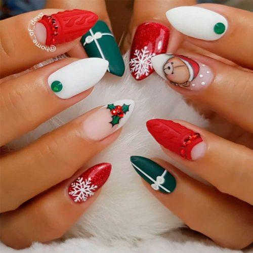 Christmas Nail Art Design #knitednails #rhinestonesnails #mattenails