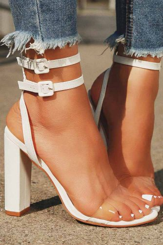 White Colored Block High Heels For Prom