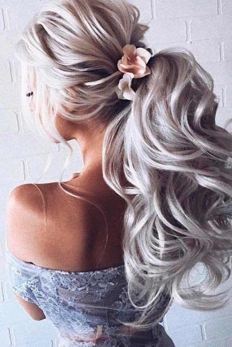Wedding Ponytail With Flowers