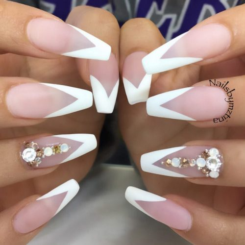 Matte Nails With A White French Manicure Design #frenchnails #mattenails