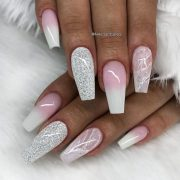 fancy white coffin nails design