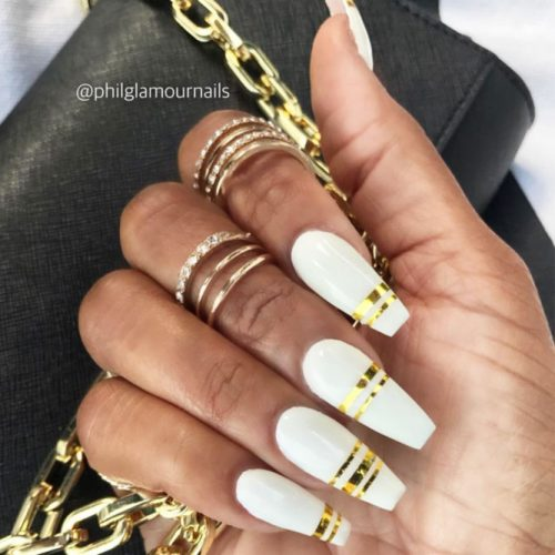 Long  White Coffin Nails With Gold Stripes #stripednails #longnails