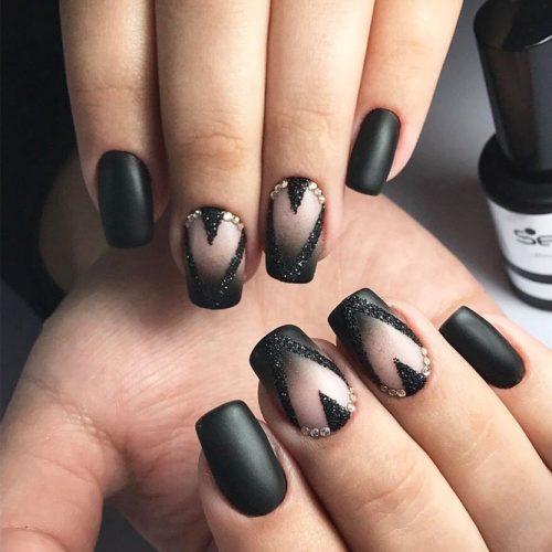 Sparkly Black Glitter Nails picture 2