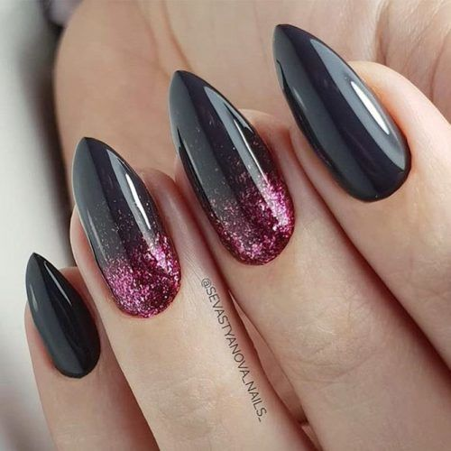 Black Almond Nails Design With Pink Glitter #pinkglitter #almondnails