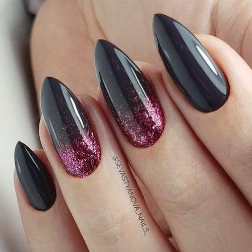 Black Almond Nails Design With Pink Glitter #pinkglitter #almondnails