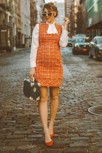 Orange Sundress With White Blouse Maternity Look #maternityworkoutfit