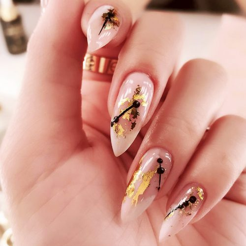 Nude Nails Designs with Gold Foil Picture 5