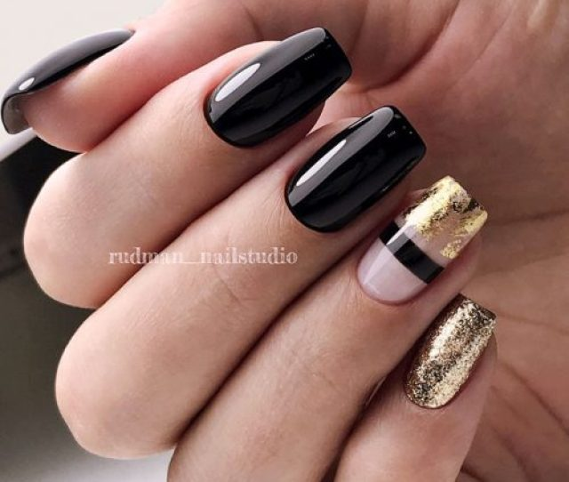 Stunning Black Shellac Nails Decorated With Gold Glitter And Foil Blacknails Glitterails Foilnails