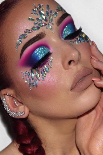 Crystal Makeup For Festival Party #nudelips #brighteyeshadow