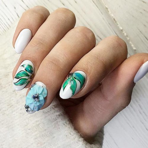 Beautiful Floral Oval Nails Design #floralart