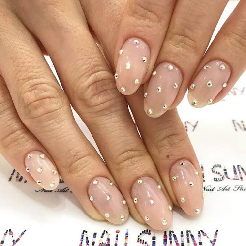 Oval Shaped Nails For A Formal Office Look #crystals