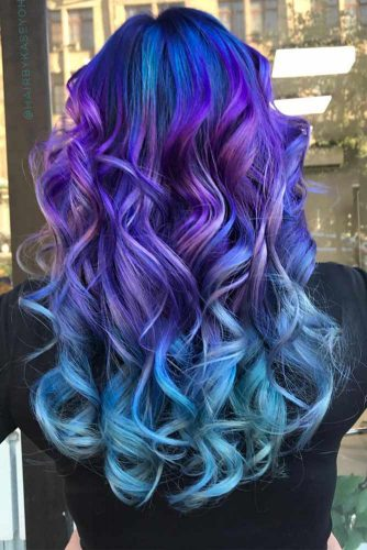 Beautiful Ombre With Blue And Purple Colors #longhair #wavyhairstyle #galaxyhair