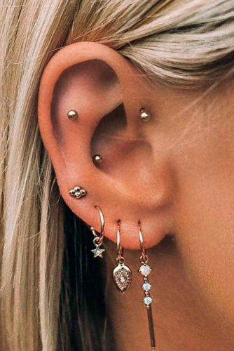 Multiple Piercings With Targus Rook And Lobe #multiplepiercings #targusearpiercings #rookearpiercings