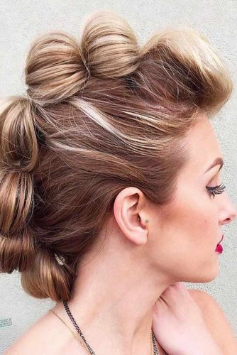 Updo Fohawk With Bubbles #updo #highlightedhair #bubblehairstyle