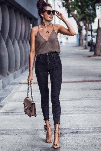 Black Skinny High Waisted Jeans #blackskinny