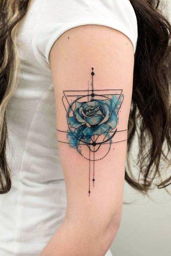Blue Rose Tattoo Design With Geometric Elements #geometrictattoo #armtattoo #bluerosetattoo