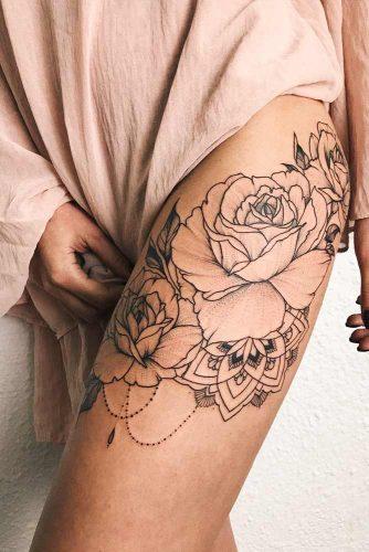 Black And White Rose Tattoo Design For Leg #legtattoo