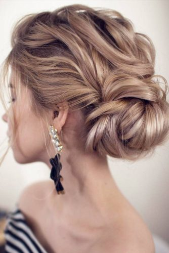 Classy Textured Updo With A Side Bun #sidebun #blondehair