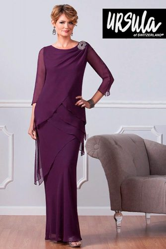 Layered Fit-And-Flare Dress With Sleeves #longdress #formaldress #eveningdress