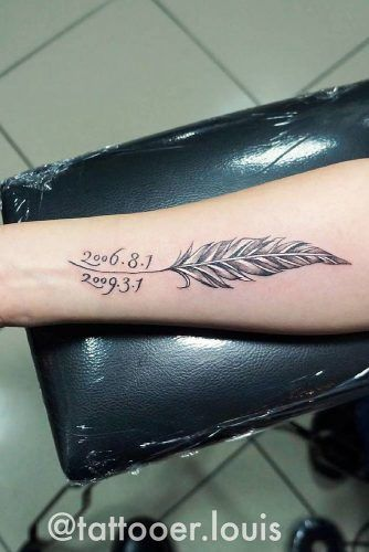 Feather Tattoo With Memorial Date