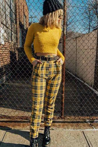 Yellow Slim Straight Pants With Crop Top Outfit #croptop #yellowplaidpants
