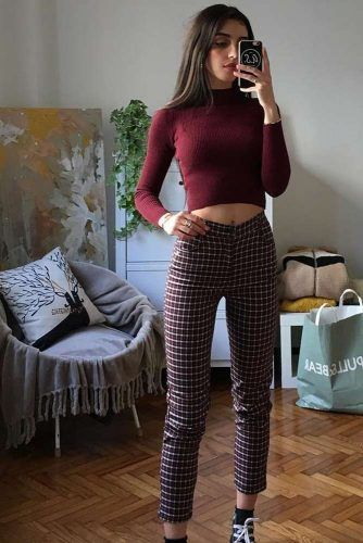 Crop Plaid Pants With Burgundy Top Outfit #burgundypants