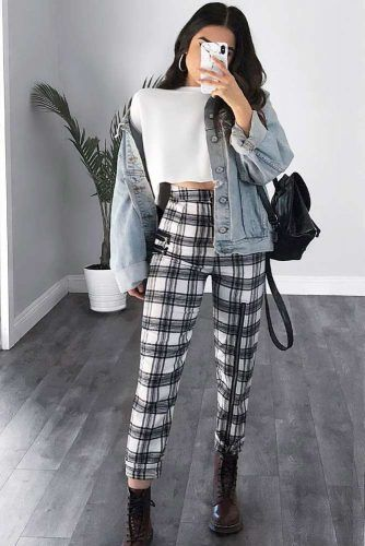 Plaid Pants With Denim Jacket Outfit #denimjacket