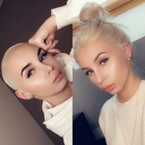 femme crane rasé blonde