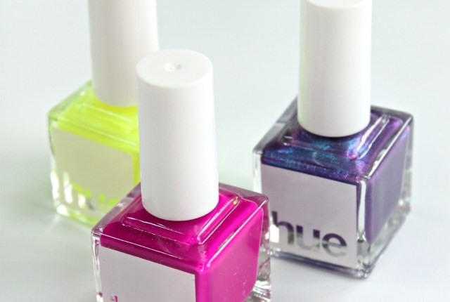 SquareHue July 2015 Review & Swatches: We received three nail polishes inspired by the 60s - a matte neon yellow, matte neon fuchsia, and a blue-purple duochrome >> https://glamorable.com | via @glamorable