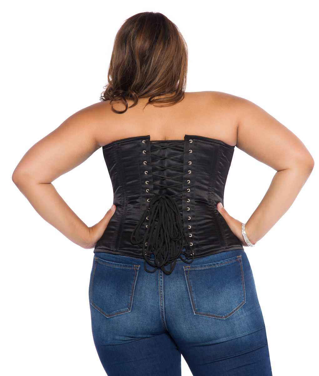 Jenna Black Satin Plus Size Corset Overbust with Steel Bones