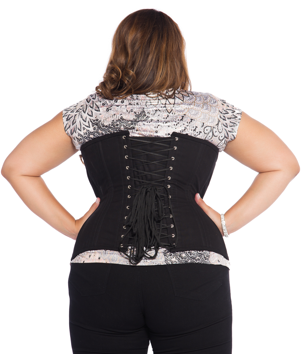 Jolie Black Cotton Plus Size Corset Underbust Steel Boned