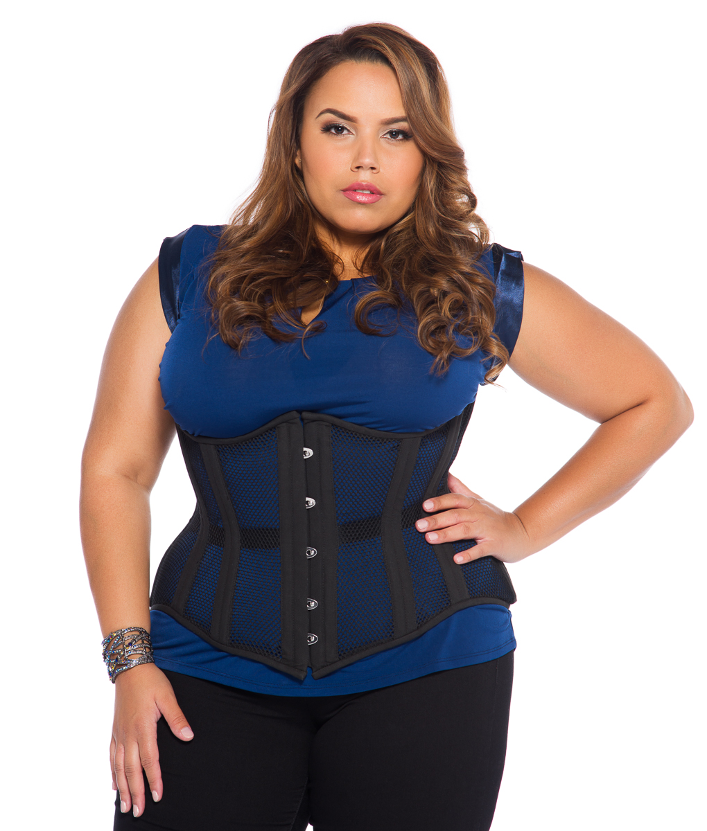 Jolie Black Mesh Plus Size Corset Steel Boned