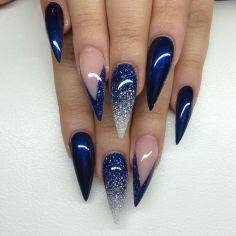 Winter Blue nail design stiletto