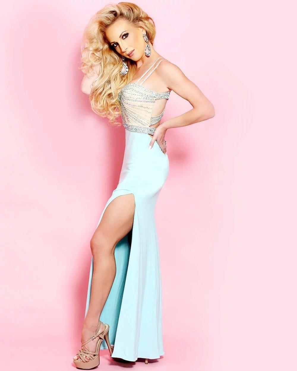 Faviana crystal aqua gown eve dawes