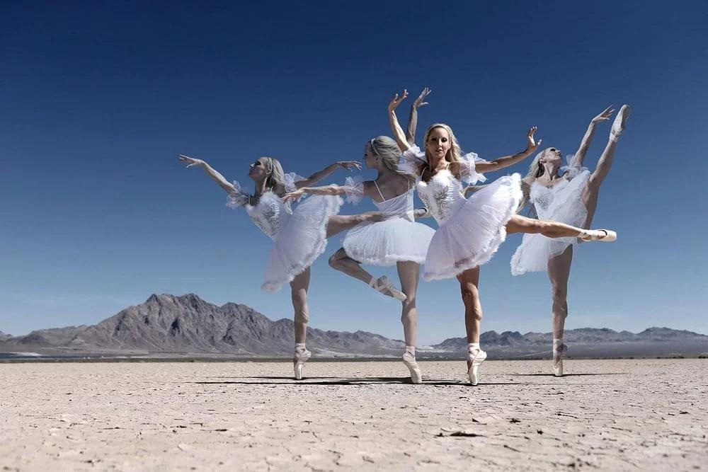 ballerina dancing dry lake bed white tutu