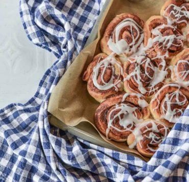 best cinnamon rolls checkered tea towel