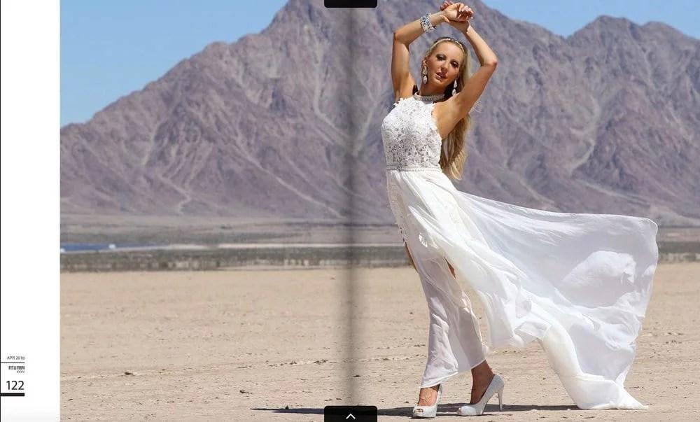 fashion blogger glamour gains white dress dry lake bed
