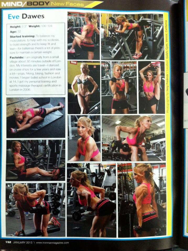 Iron Man Magazine female fitness model Eve Dawes