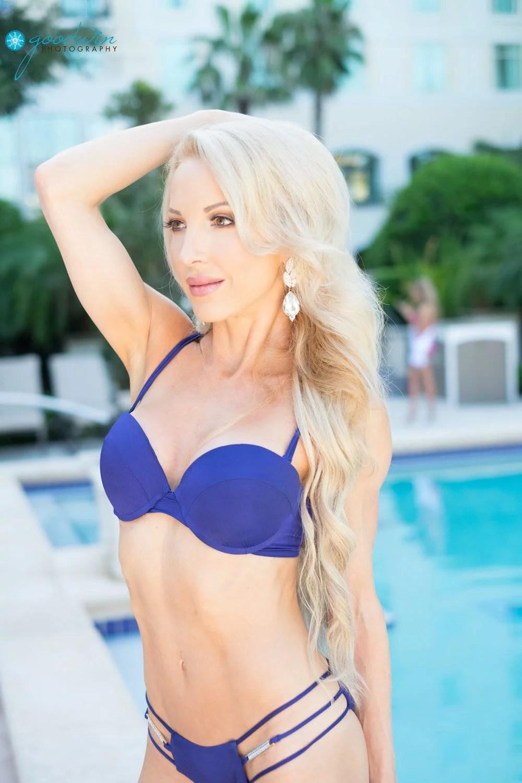 beach bunny blue bikini swimsuit model