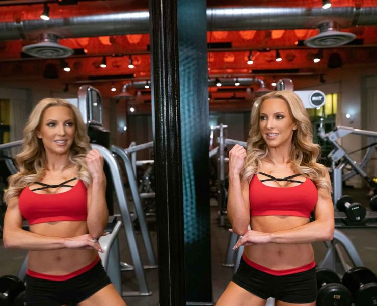 fitness model Eve red top abs